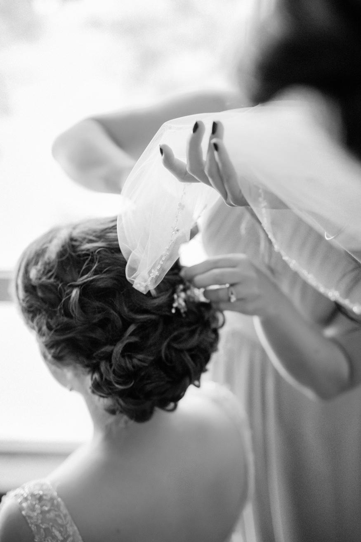 Bride getting ready before Pen Ryn wedding.