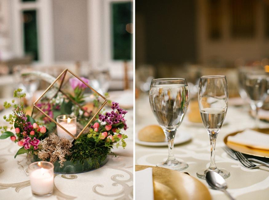 Wedding reception at Pen Ryn Estate. Centerpieces by Eastwick Florist.