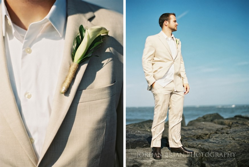 groom portrait on jetty at ocean city yacht club wedding