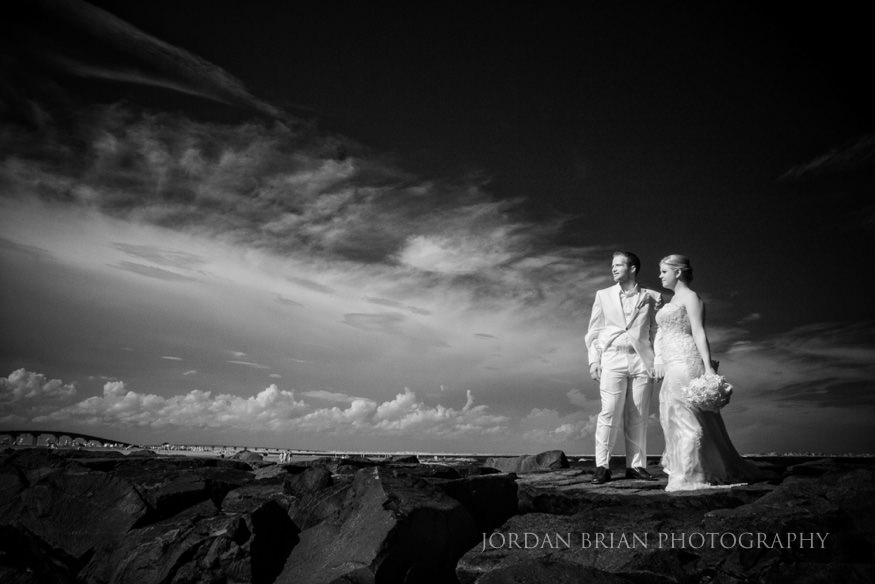 infrared photo of couple on jetty at ocean city yacht club