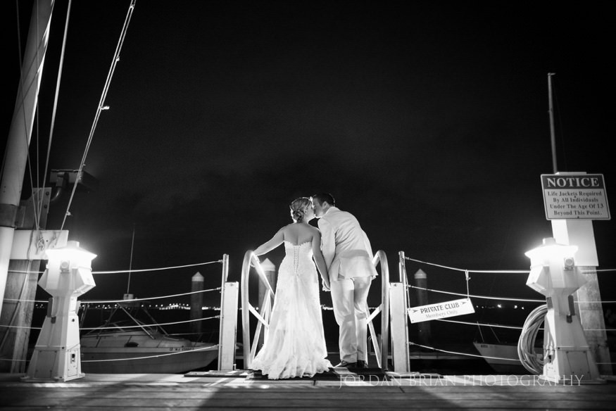night shot of bride and groom at ocean city yacht club wedding