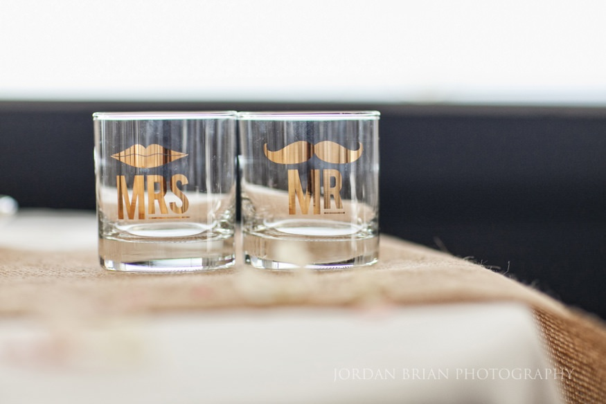 mr and mrs shot glasses at ocean city wedding