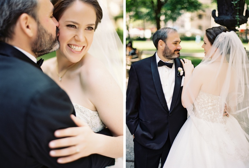 Bride and Groom portraits at Washington Square Park in Philadelphia.
