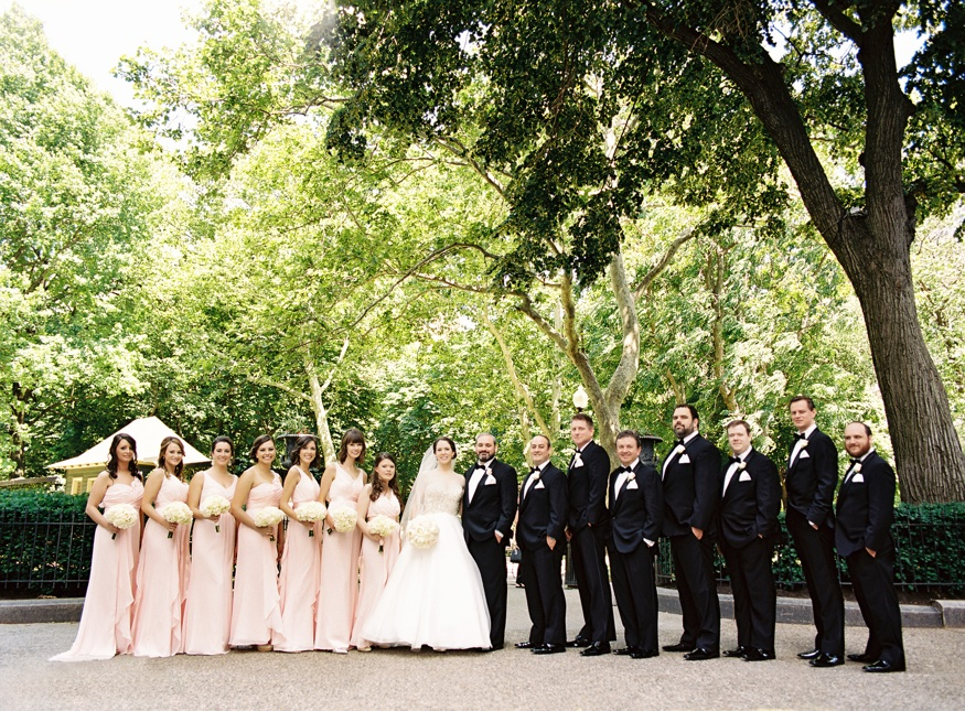 Bridal party portraits at Washington Square Park in Philadelphia.