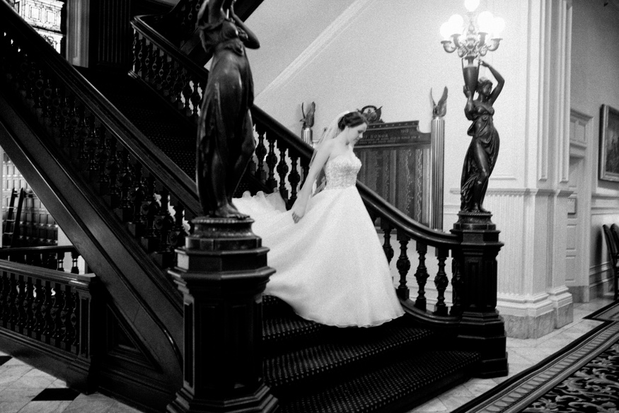 Bride and Groom first look at Union League Philadelphia wedding.