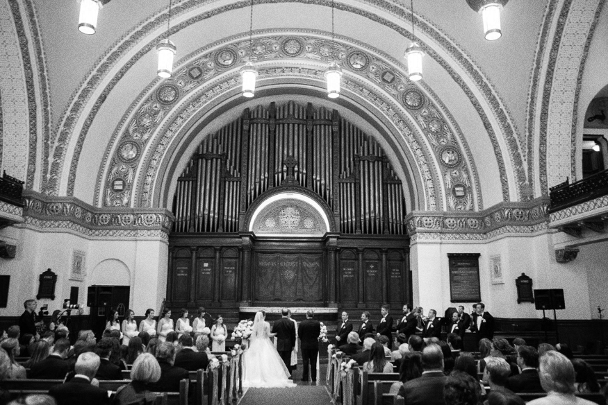 Summer wedding ceremony at First Baptist Church of Philadelphia.