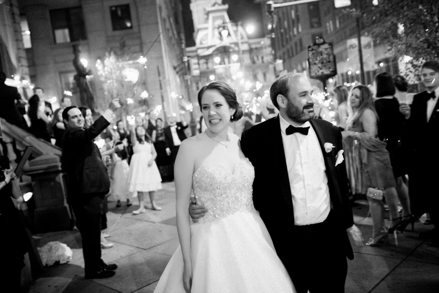 Bride and Groom leaving Union League Philadelphia Wedding.