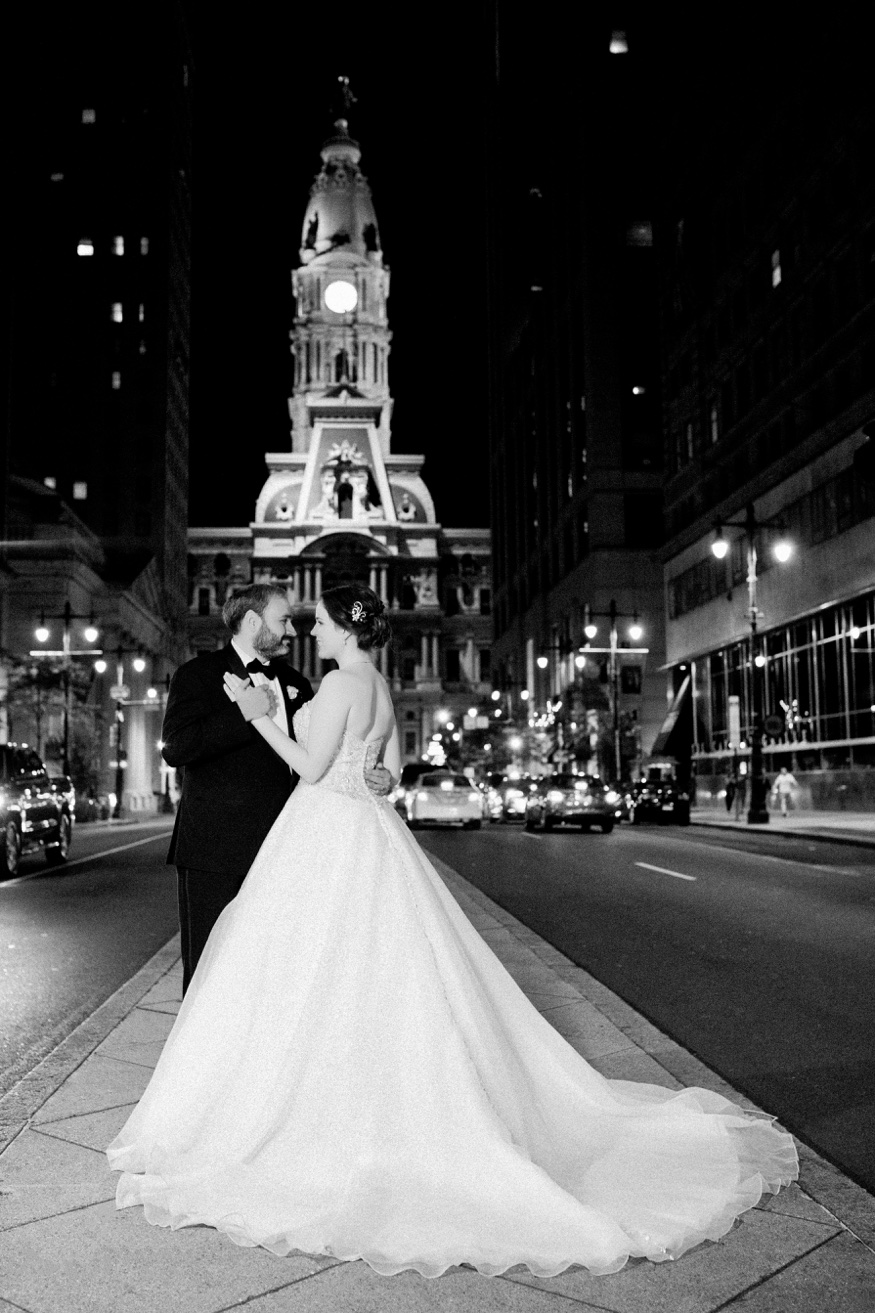 Bride and groom Philadelphia City Hall night photos.