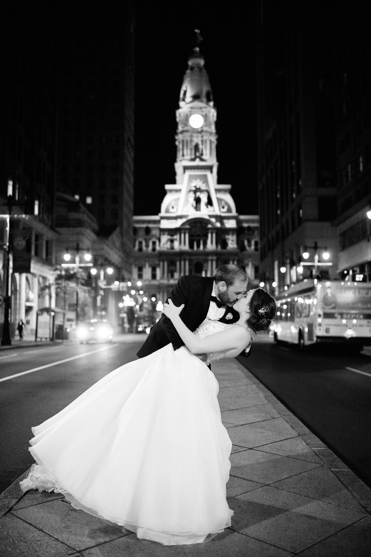 Bride and groom Philadelphia City Hall night photos.