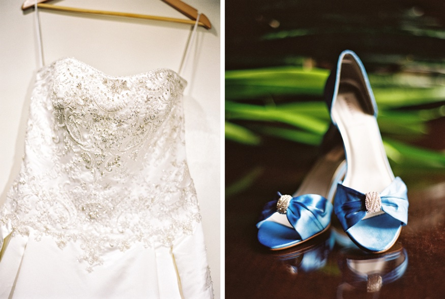 Bride's wedding dress and shoes.