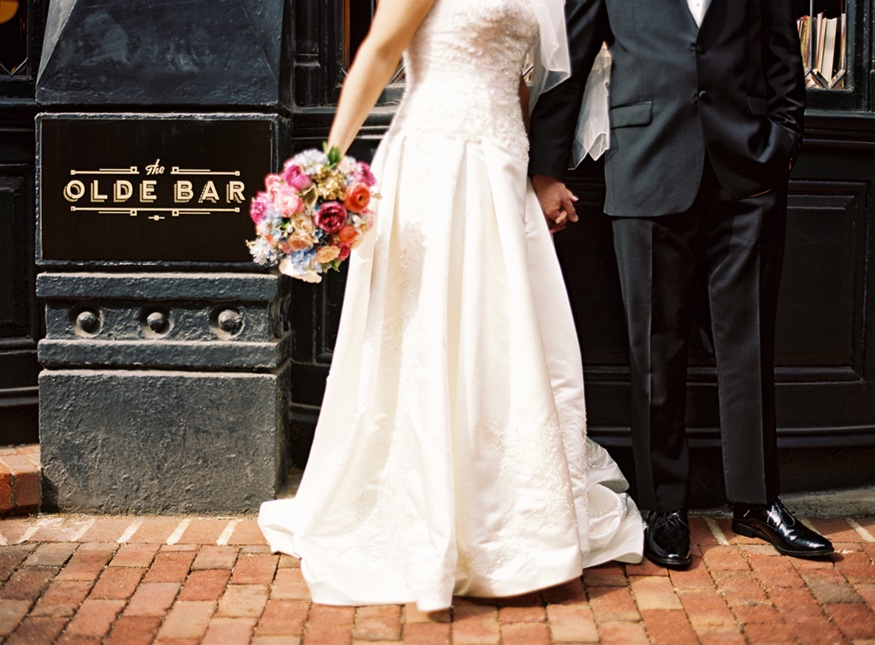 Olde Bar wedding photography bride and groom outside on stones