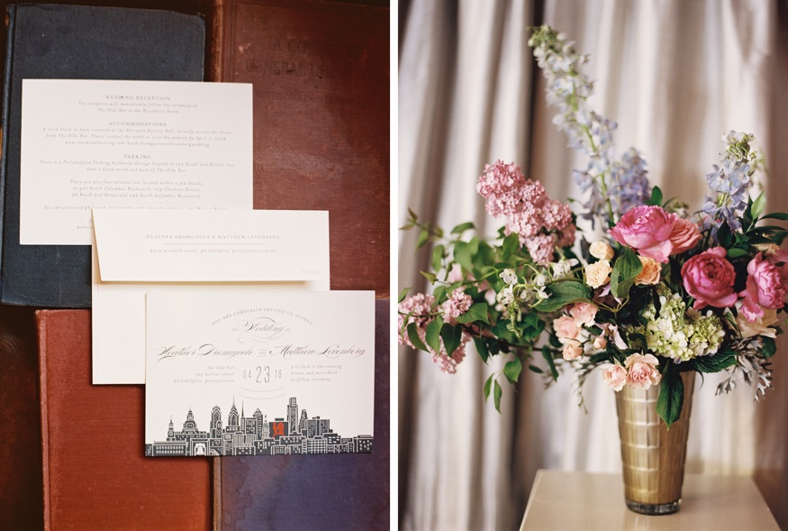 Reception details at Olde Bar Philadelphia wedding.