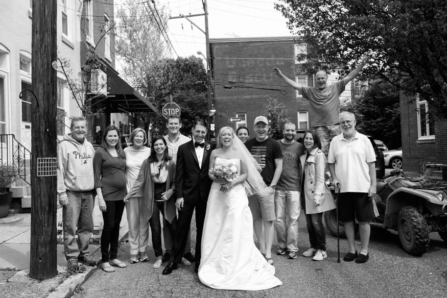 Photobomb with Bride and Groom at Olde Bar Philadelphia wedding.