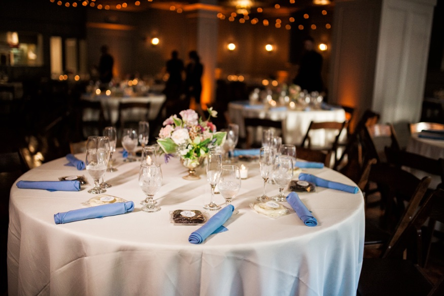 Table details at Olde Bar Philadelphia wedding reception.