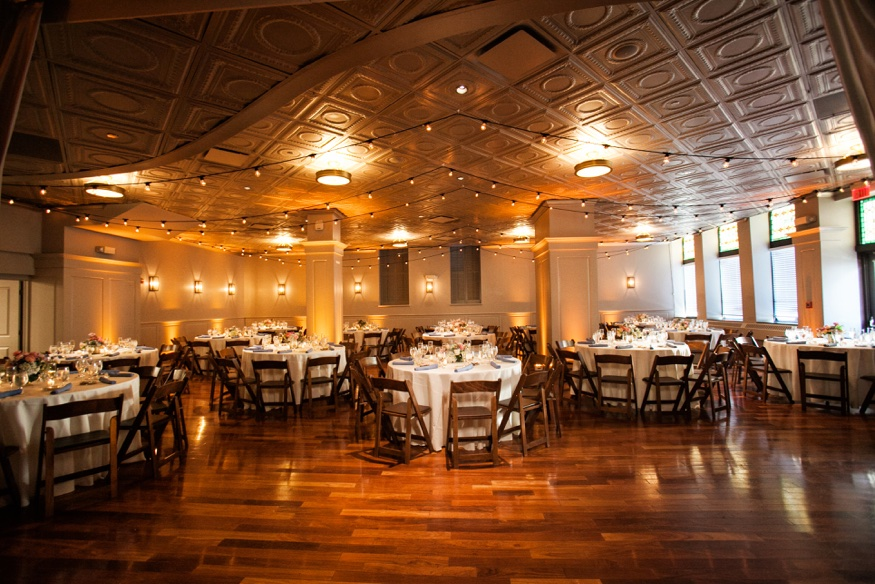 olde bar wedding reception room full wide view