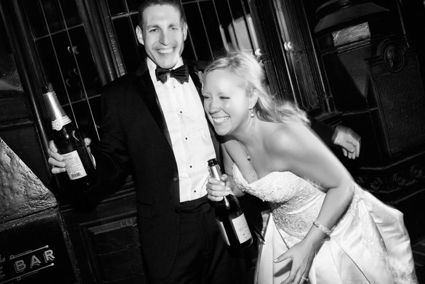 Champagne at Olde Bar Philadelphia wedding.