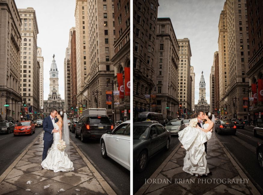 Bride & Groom photo at City Hall in Philadelphia