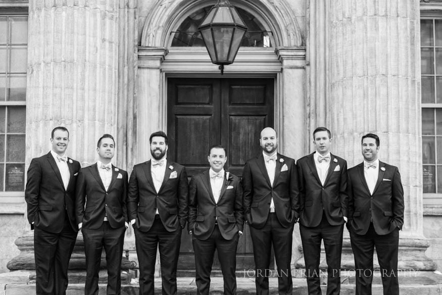 Groomsmen photo at first bank of the united states Philadelphia