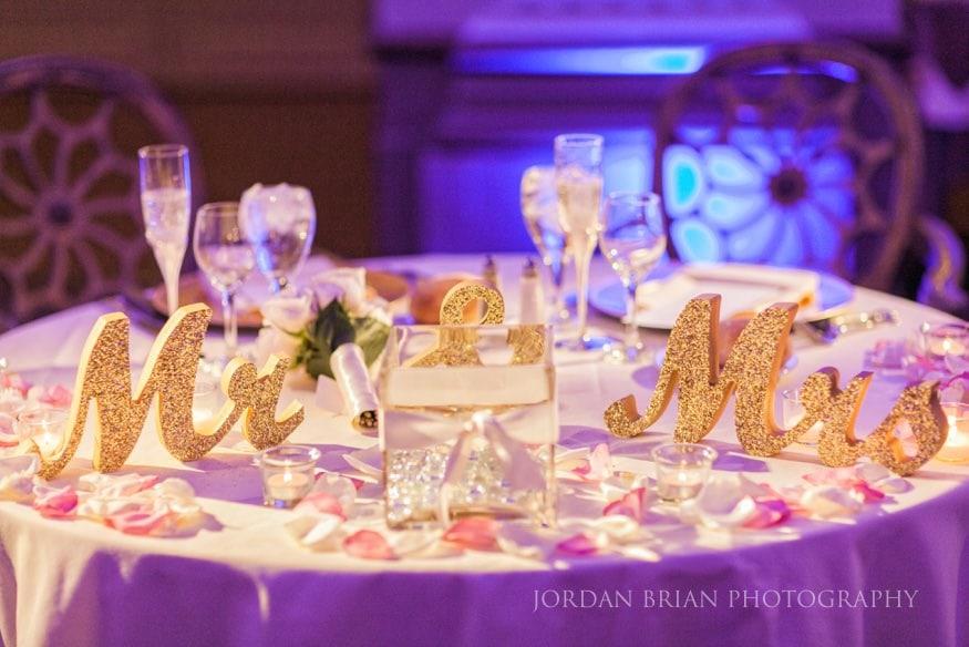 Head table decor at Ballroom at the Ben wedding