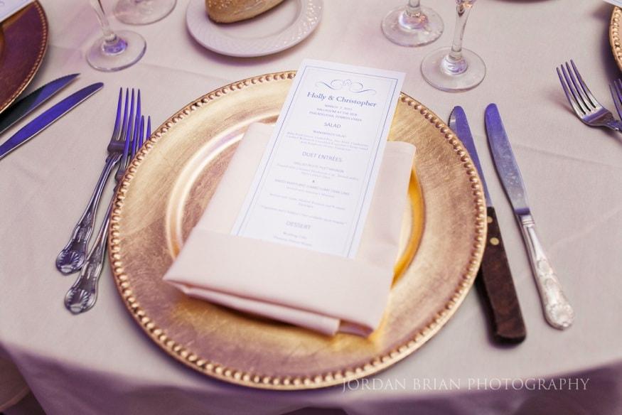 Dinner menu at Ballroom at the Ben Philadelphia wedding