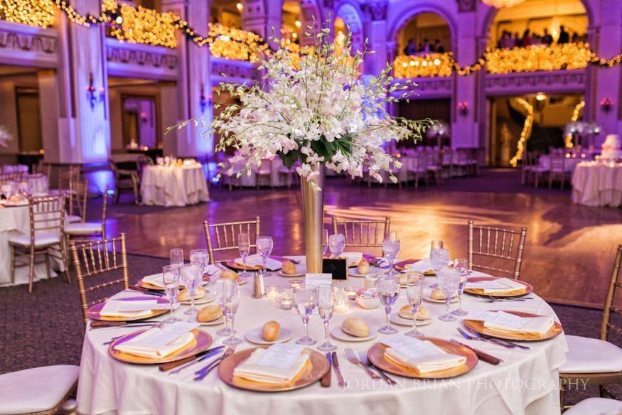 Table decor at Ballroom at the Ben reception