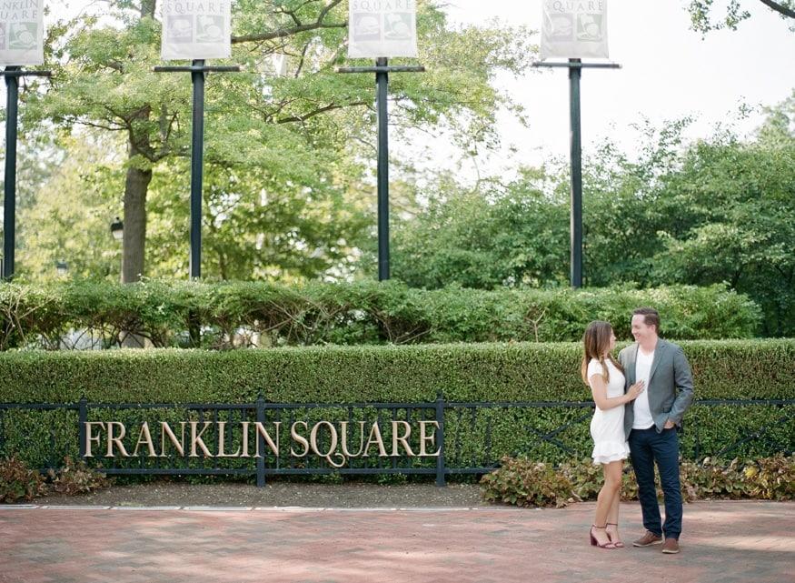 Franklin Square Philadelphia engagement session.