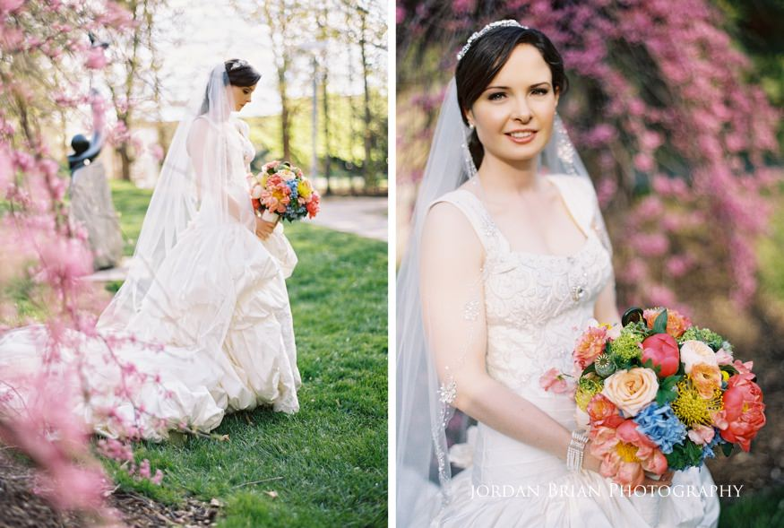 bride with bouquet at grounds for sculpture spring wedding