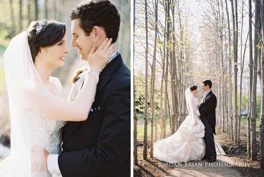 bride and groom portraits at their grounds for sculpture spring wedding