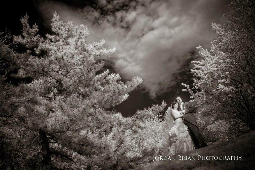 bride and groom infrared portraits at their grounds for sculpture spring wedding