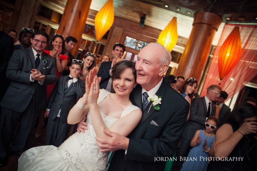 bride dancing with grandfather at reception at grounds for sculpture spring wedding