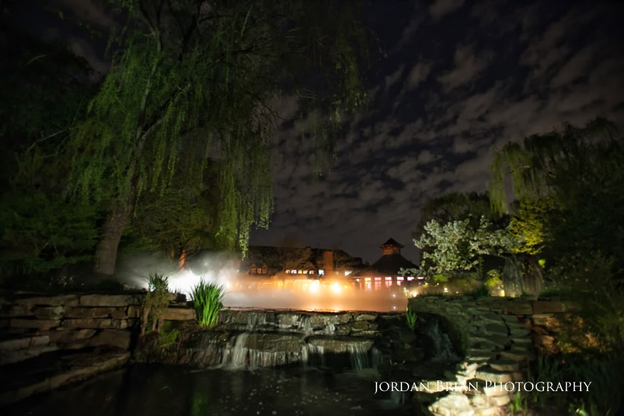 night shot of grounds for sculpture spring wedding