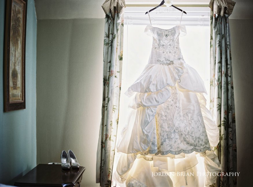 bride's dress at grounds for sculpture wedding