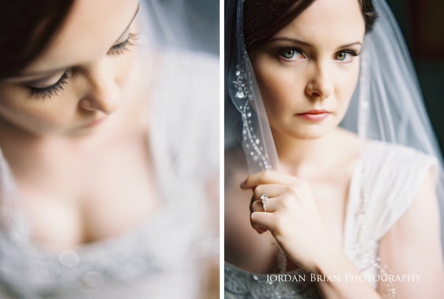 bride portraits with veil before grounds for sculpture wedding