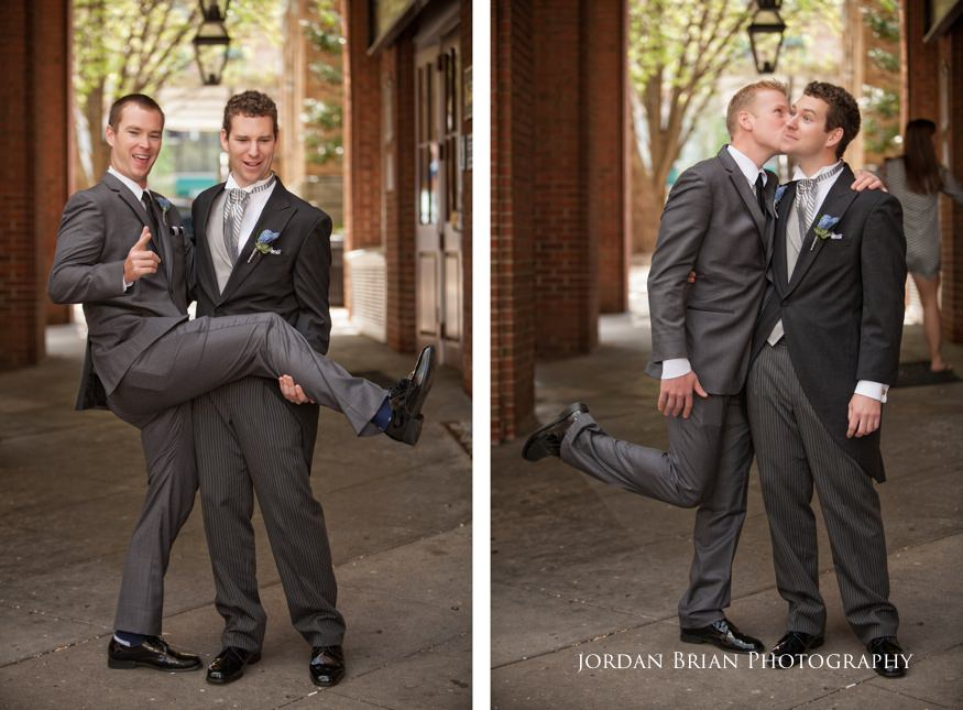 portraits of groom with groomsmen before grounds for sculpture wedding