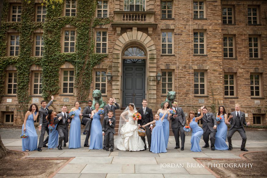 bridal party in front of princeton university before grounds for sculpture wedding