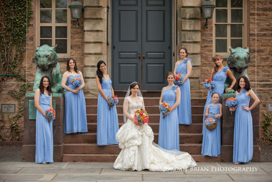 bride and bridesmaids in front of princeton university before grounds for sculpture wedding