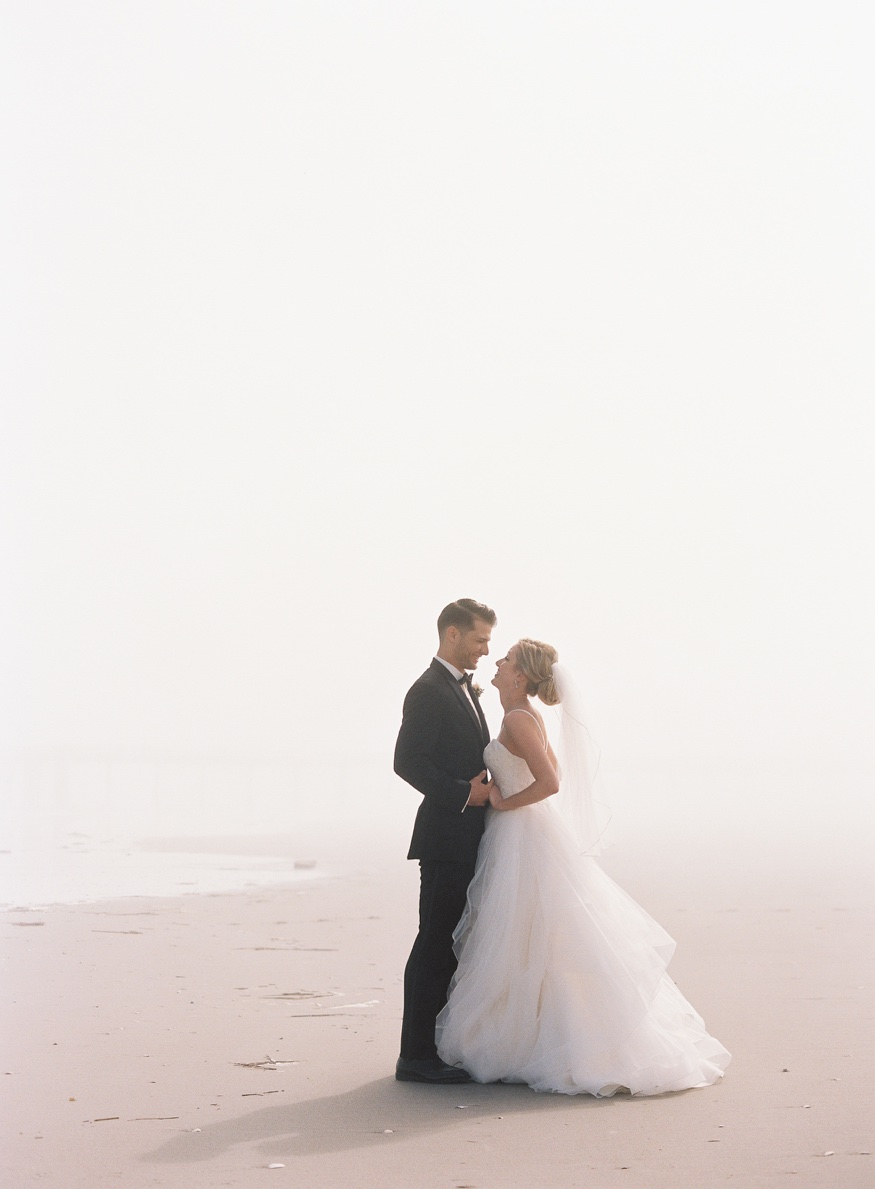 Bride and Groom portraits on the beach before Icona Avalon wedding.