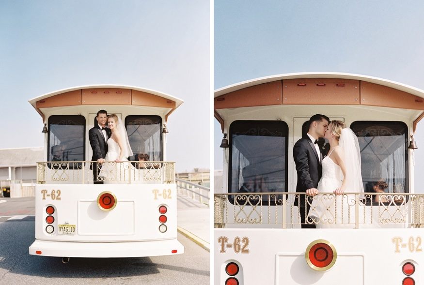 Bride and Groom portraits on Great American Trolley at Icona Avalon wedding.