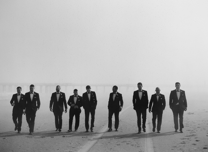 Groomsmen portraits on the beach before Icona Avalon wedding.