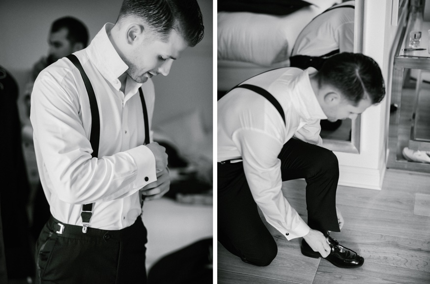 Groom getting ready before Icona Avalon wedding.
