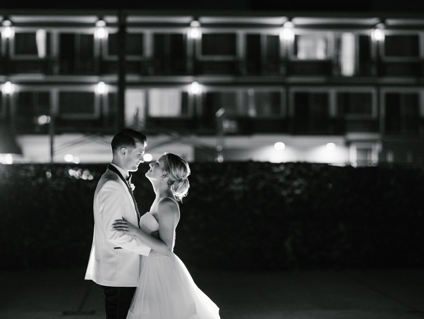 Night portraits with Bride and Groom at Icona Avalon wedding reception.