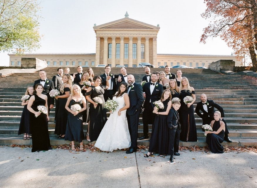 Bridal Party portraits behind the Philadelphia Art Museum.
