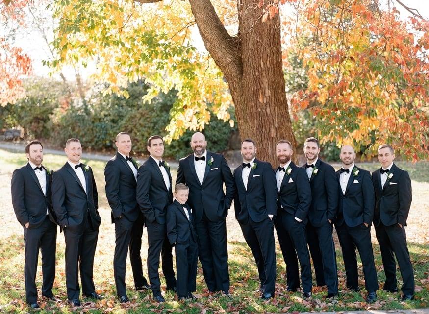 Fall wedding portraits of groomsmen at Philadelphia Art Museum