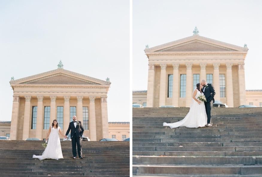 Wedding portraits at Philadelphia Museum of Art.