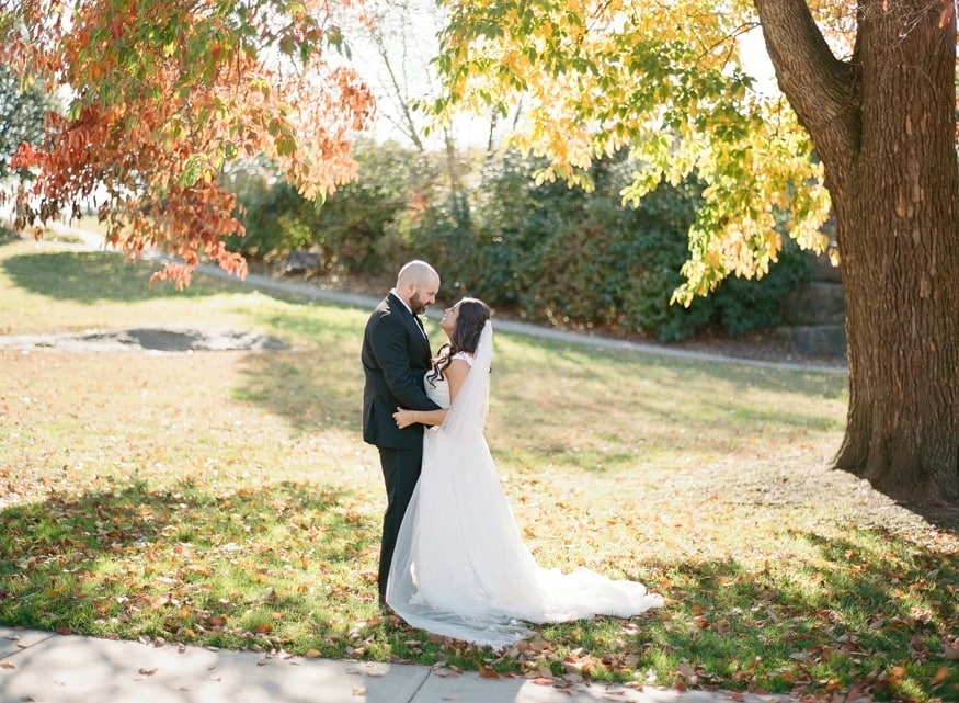 Fall wedding portraits at Philly Art Museum before Moulin wedding.