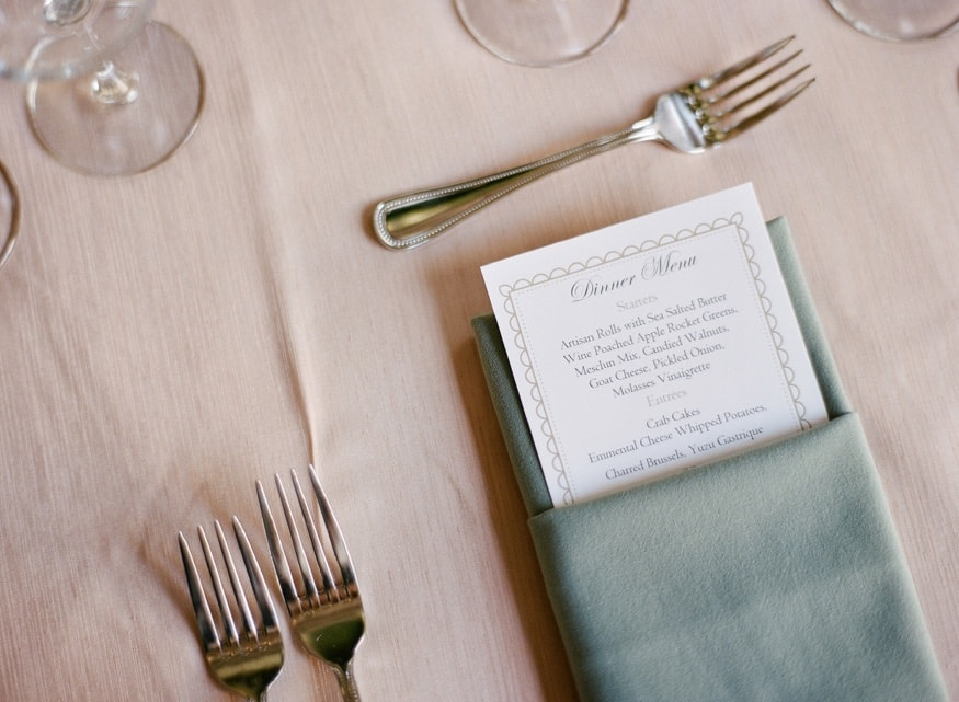 Reception details at Moulin by Brulee Catering wedding.