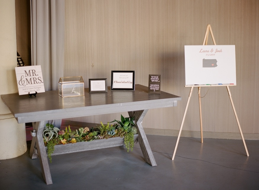 Reception details at Moulin Philadelphia wedding.
