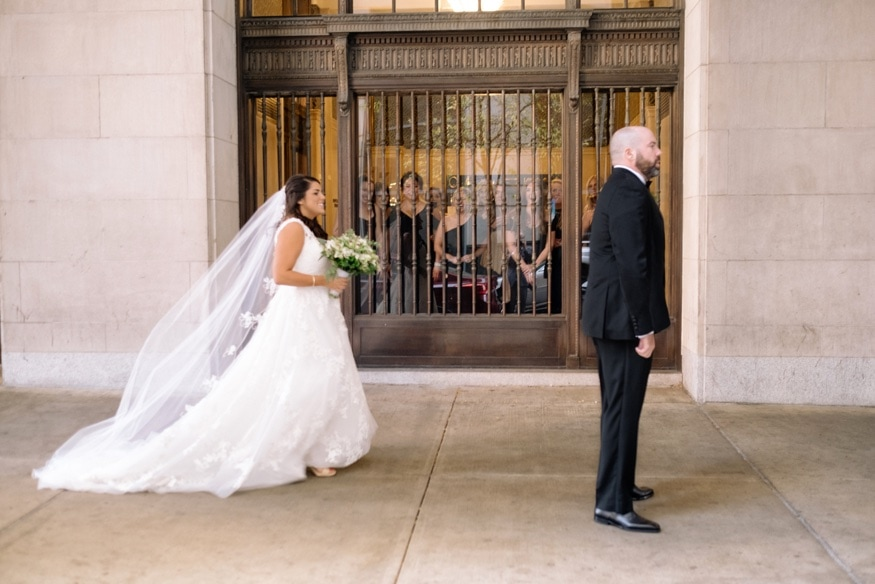 Bride & Groom first look outside of the Notary Hotel in Philadelphia.