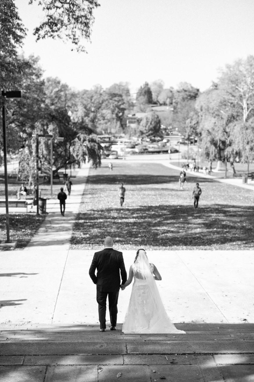 Fall wedding portraits at Philadelphia Art Museum.