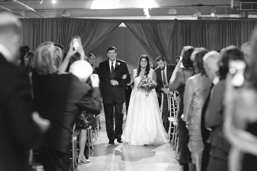 Bride & Father walk down the aisle at Moulin Philadelphia wedding.